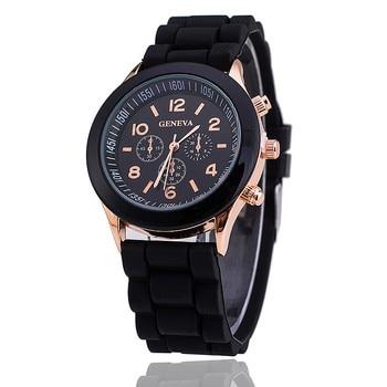 цена 2020 Hot Sales Geneva Brand Silicone Women Watch Ladies Fashion Dress Quartz Wristwatch Female Watch montre часы женские reloj онлайн в 2017 году