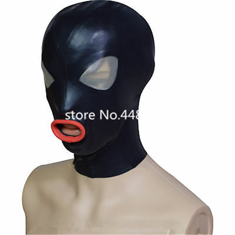 New Latex Mask Rubber Hood Black Zipper For Catsuit Party Wear Costumes 0.4mm