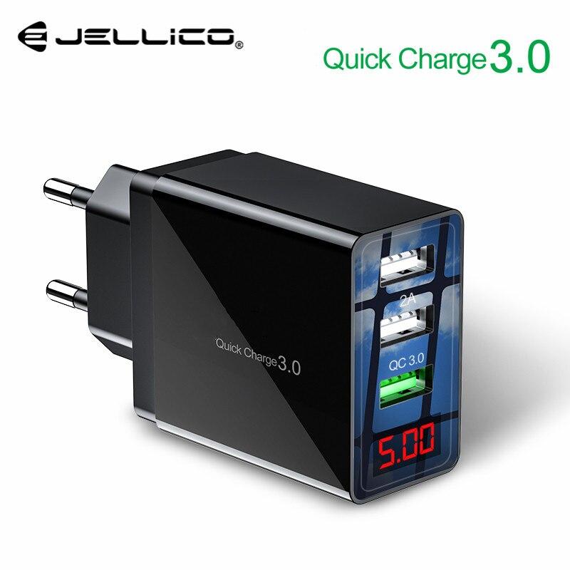 Carregador de Celular Universal 3 QC3.0 Display LED UE Porta USB Carregador Adaptador de Carregamento Rápido Carregador de Parede Para iPhone Samsung Xiaomi