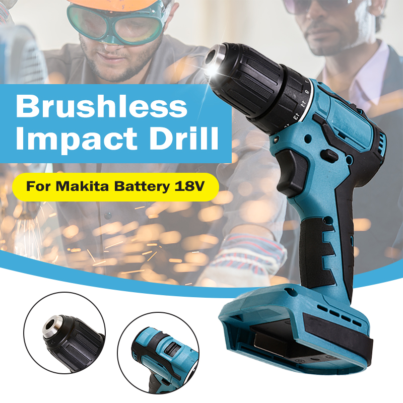 Electric Cordless Brushless Impact Drill 18V 90Nm Hammer Drill Screwdriver DIY Power Tool Rechargable For Makita Battery