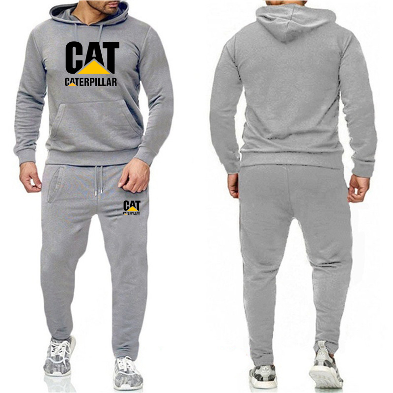 New 2019 Korean Men's Autumn And Winter Two-piece Gray Print Multi-code Casual Sportswear Sports Suit Men's Jogging Suit