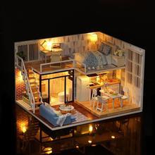 Рождественские подарки DIY Кукольный дом деревянные кукольные домики миниатюрный кукольный домик мебель комплект со светодиодный игрушками пылезащитный чехол для детей и взрослых