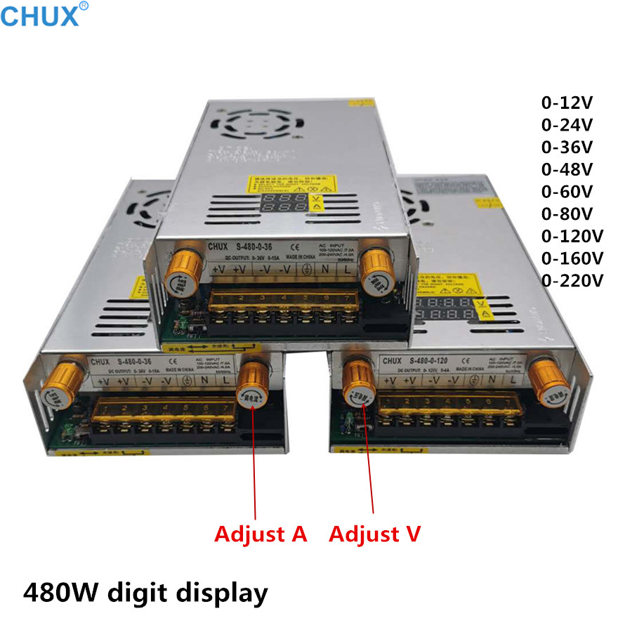CHUX 0-12v 5v 24v 36v 48v 60v 80v 120v 160v 220v Switching Power Supply Adjustable Voltage and current 480w PSU Display SMPS image