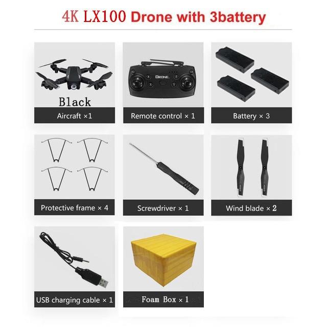 LAUMOX LX100 Радиоуправляемый Дрон с 4 K/1080 P HD камерой оптическое позиционирование потока wifi FPV складной Квадрокоптер вертолет дроны следуем за мной - Цвет: 4K 3B FB B