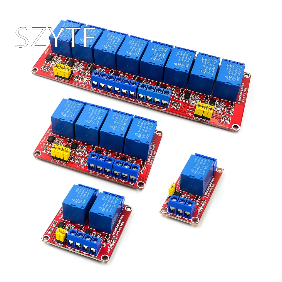 1/2/4/8 channel 5V relay module opto isolated high and low trigger board microcontroller red|Integrated Circuits|   - AliExpress