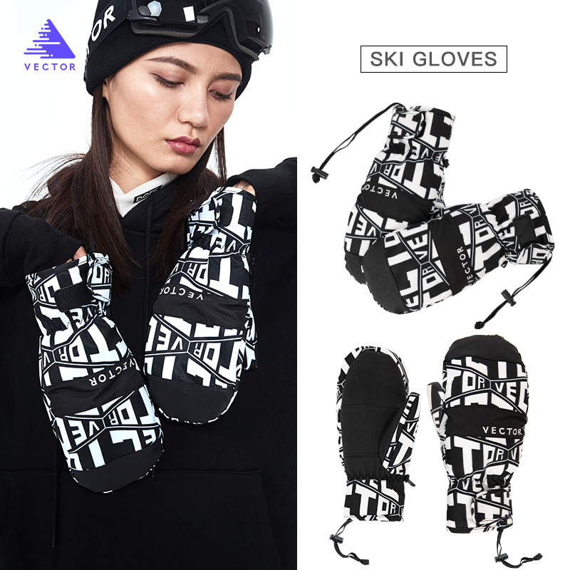 Extra Thick Men 2-IN-1 Mittens Ski Gloves Snowboard Women Snow Winter Sport Warm Waterproof Windproof Skiing Faux Leather Plam