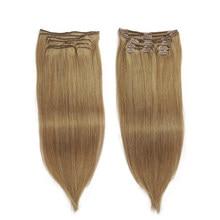 Extensions de cheveux brésiliens Remy avec clips-Isheeny   Ensemble de 8 pièces de cheveux naturels, sans couture, couleur Pure, tête complète avec clips