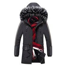 暖かい男性パーカーコート冬の新メンズ毛皮の襟フード付きパーカージャケット厚い男性カジュアル生き抜くオーバー Casacos Masculino