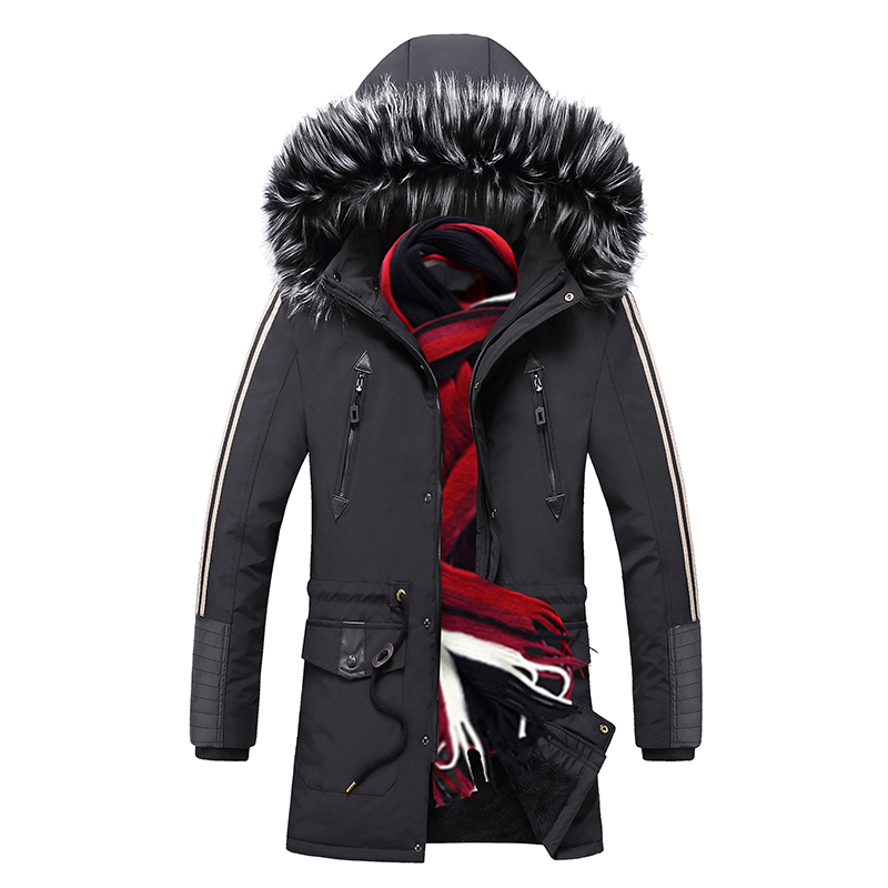 Warm Men   Parkas   Coats Winter New Mens Fur Collar Hooded   Parka   Jackets Thick Male Casual Outwear Overcoats Long Casacos Masculino