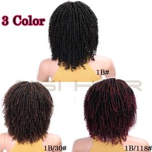 Image 2 - AISI HAIR 14 Soft Dreadlocks Hair Wig Short Synthetic Wigs For Black Women Black Brown Crochet Braids Wigs Heat Resistant