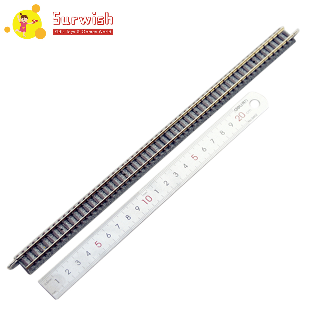 Surwish 1 Pcs 28cm 1:160 Scale S280 / S280-SL Straight Track With 9mm Gauge For N-Scale Train Model