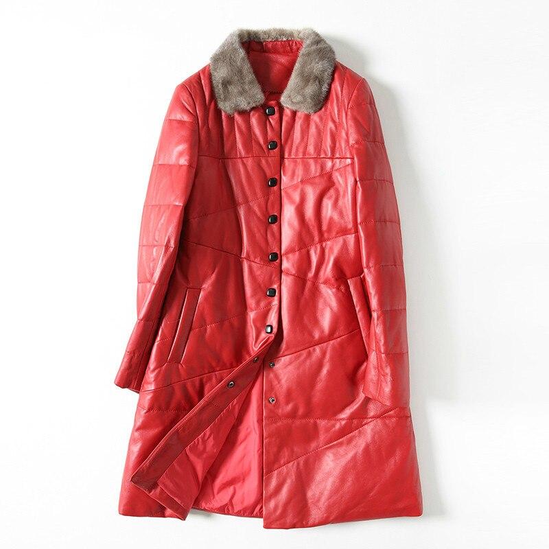 Genuine Leather Jacket Women Sheepskin Coat Duck Down Coat Mink Fur Collar Leather Down Coats Winter Coat Women X-171 YY1885