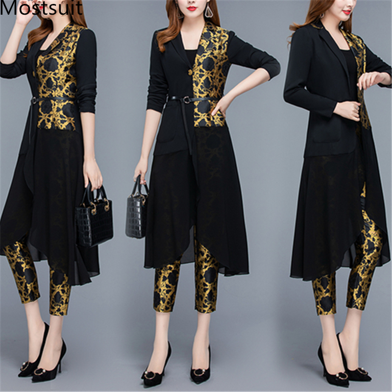 2019 Autumn Black Vintage Printed Two Piece Sets Outfits Women Plus Size Long Tops With Belt And Pants Suits Elegant Office Sets 35