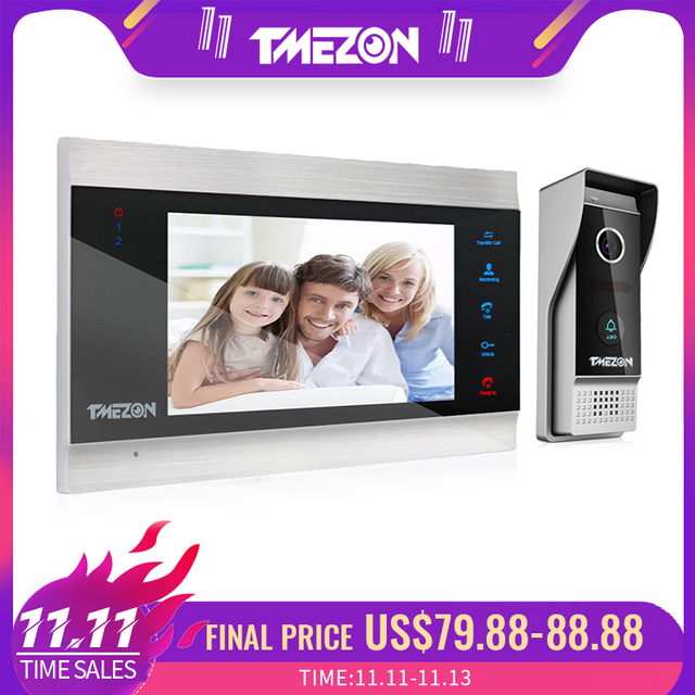 Tmezon 7 Polegada tft com fio sistema de vídeo porteiro com 1x 1200tvl câmera do telefone da porta à prova dwaterproof água, gravação apoio/instantâneo campainha