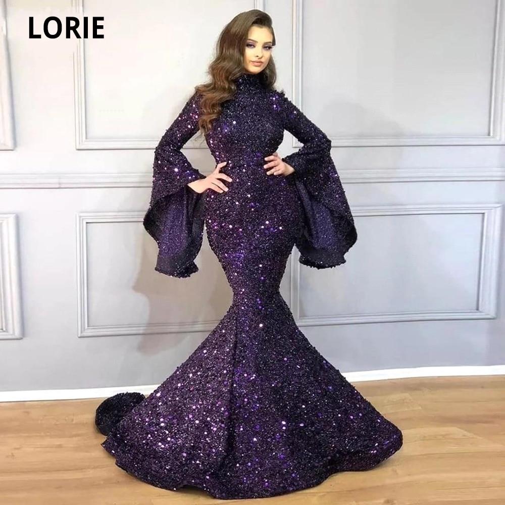 Купить lorie арабская высокая шея блестки вечерние платья русалка 2020