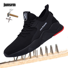 Buy Safety shoes men shoes light steel tip Anti-crush Unisex work sneakers tra Lightweight breathable steel toe safety shoes for men directly from merchant!