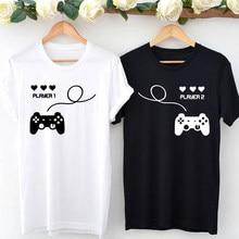 T-shirt avec Player 1 et Player 2 pour femme, mignon et humoristique, cadeau de saint valentin, pour couple, lune de miel