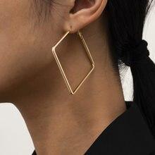 European and American simple retro jewelry with geometric irregular big earrings French rhinestone metal earrings for women