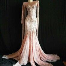 Wome Sexy Quaste Rosa Lange Kleid Sparkly Strass Frauen Abend Party Kostüm Nachtclub Party Sänger Leistung Bühne Tragen