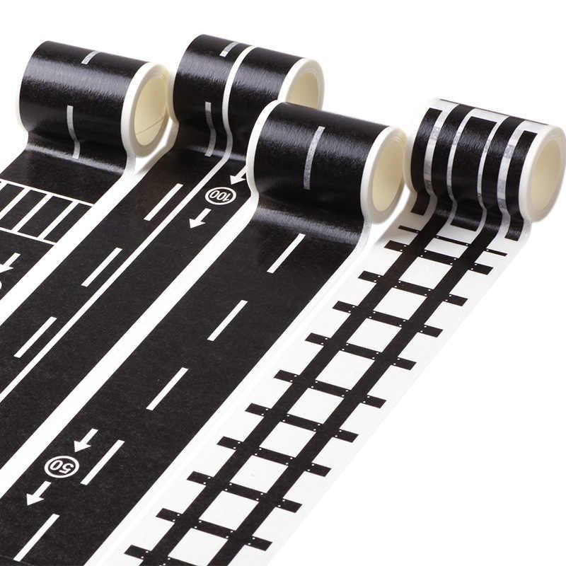 DIY 크리 에이 티브 어린이 Diy 교통 Washi 테이프 레일/도로 테이프 자동차/기차/곡선 스티커 종이 아이의 참신 선물 퍼즐 장난감