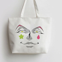 Hisoka smile Japanese Anime Canvas Tote bag Cartoon Shopping bags Shoulder Reusable Shopper Grocery Bag GA1066
