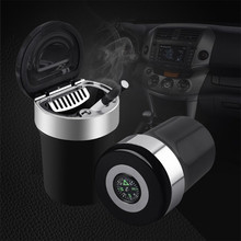 Car Interior Accessories Stainless Steel Compass Ashtray Holder  With Led Multifunctional Auto Supplies