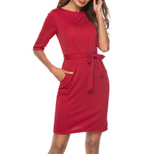 Women's O-Neck Office Ladies Solid Bodycon Dress Half Sleeve Knee-Length Dress     8.18 ruched bodycon knee length dress
