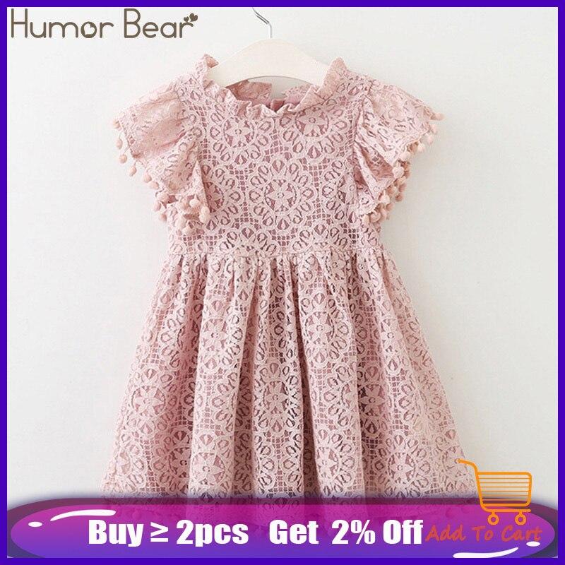 Humor Bear Girls Dress 2020 New Brands Baby Dresses Tassel Hollow Out Design Princess Dress Kids Clothes Children's Clothing