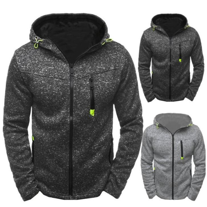 2019 New Men's Style Fashion Zipper Pocket Men's Jogging Slim Jacket Warm Jacket Coat Sweatshirt With Hat Thick Outwear