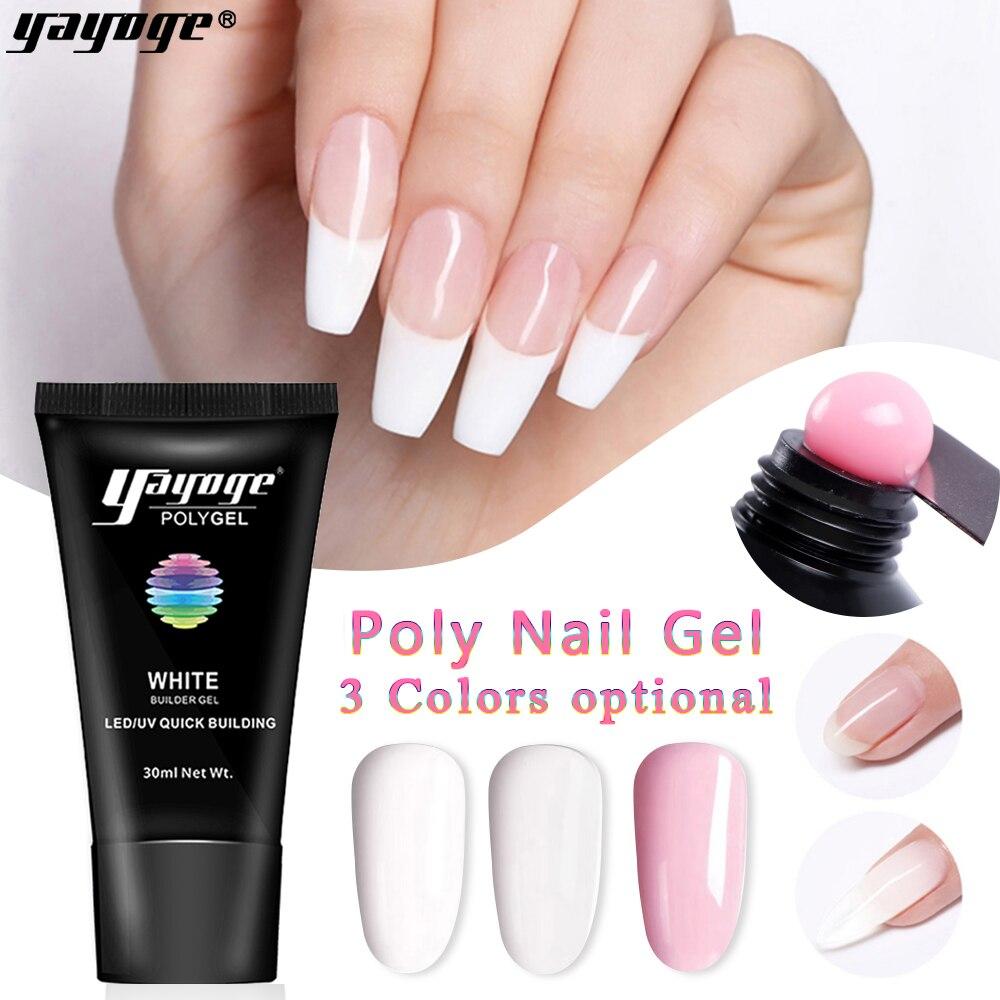 Yayoge 30 мл поли гель для ногтей акриловый гель розовый прозрачный белый поли гель для ногтей быстрое наращивание гель УФ светодиодный гель для наращивания ногтей