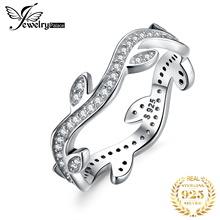 JPalace Olive Leaf Wedding Rings 925 Sterling Silver for Women Stackable Anniversary Ring Eternity Band Jewelry
