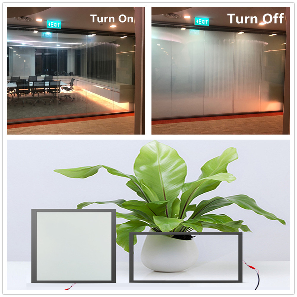 SUNICE 115mm*175mm Clear To Opaque White PDLC Switchable Electronic Window Glass Film Bedroom Office SELF-ADHESIVE With Glue