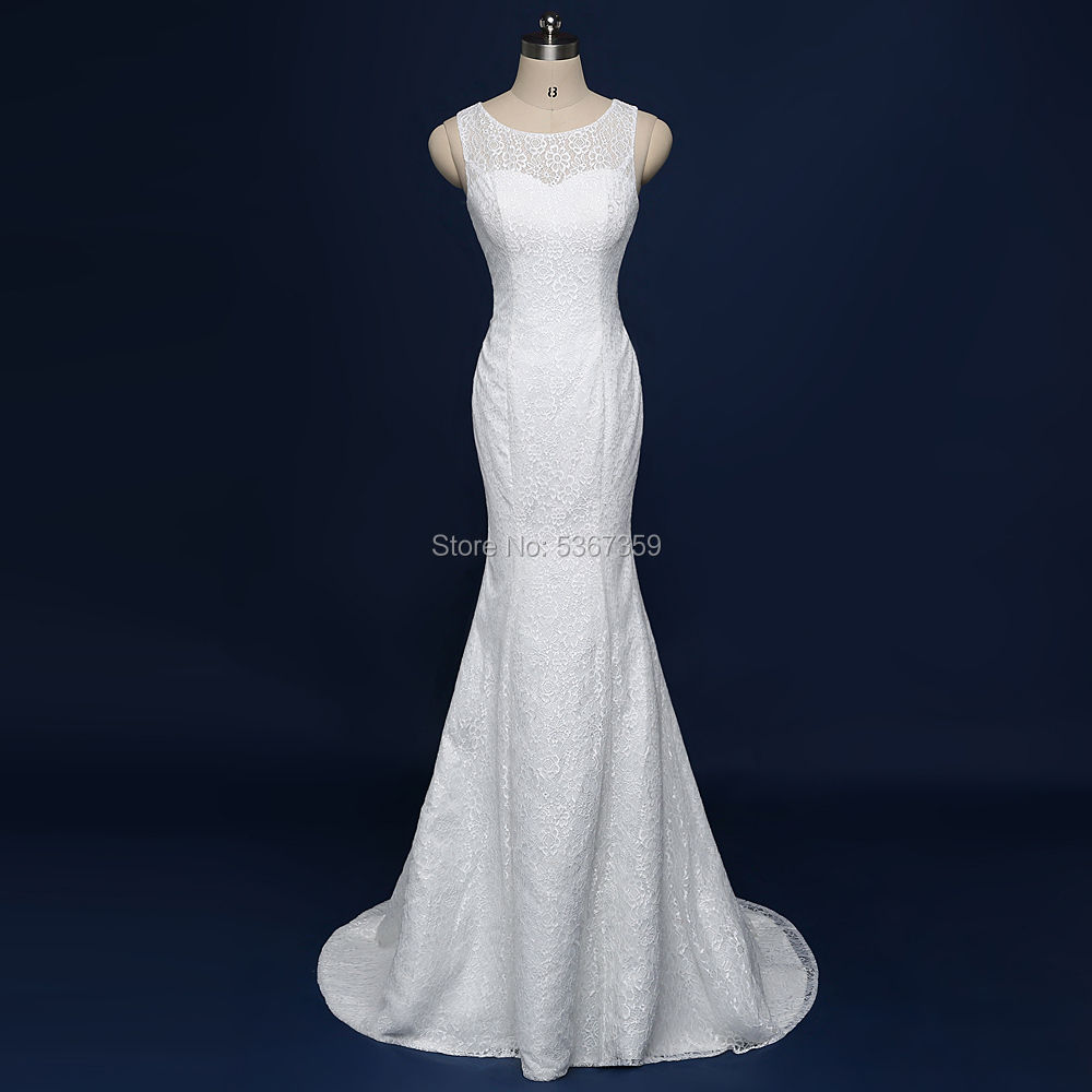 Sexy Mermaid Lace Wedding-Dresses White Ivory Beautiful Fishtail Bridal Gown Vestido De Noiva