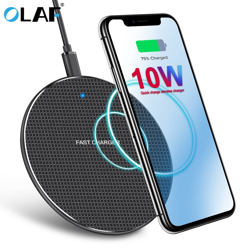 Olaf 10W Qi Wireless Charger Pad for Samsung Galaxy S8 S9 S10 iPhone 11 Pro Max Nokia Nexus 4 Mobile Phone Fast Charging Adapter