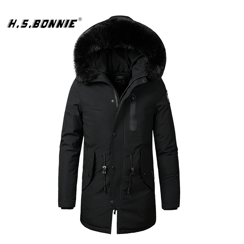 2019 New Winter Long Jacket Mens   Parka   Warm Thermal Overcoat Mens Outdoor Windbreak With Fur Hooded Jacket Helly Hansens