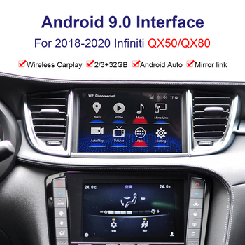 Android system car Radio player Video interface for Infiniti QX50/QX80 2018--2020 GPS navigation interface Youtube, Netflix image