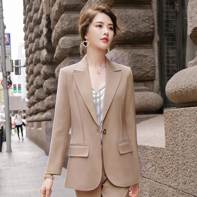 New Apricot Black Office Formal Work Pant Suits Women's Business Lady OL Uniform 2 Piece Set Blazer Trouser Jacket Plus Size 5XL