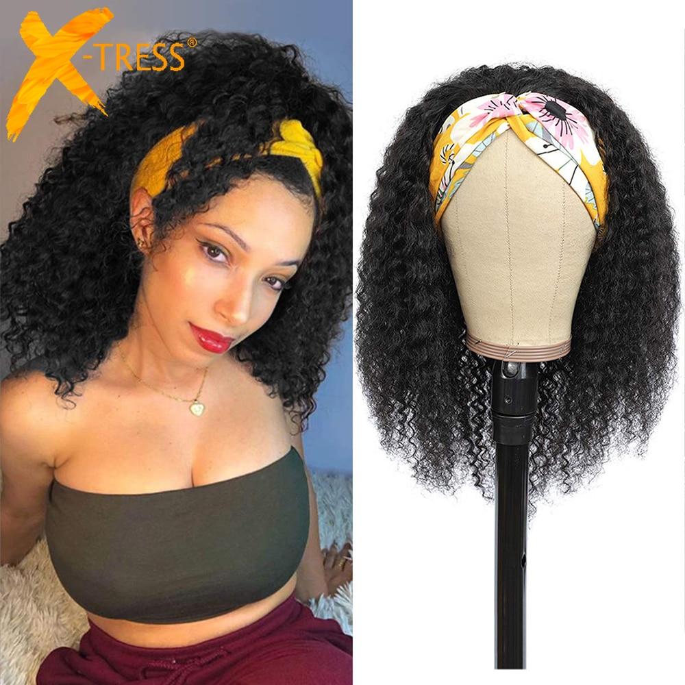 Synthetic Mixed 30% Human Hair Headband Wig For Black Women Jerry Curly Medium Length 18