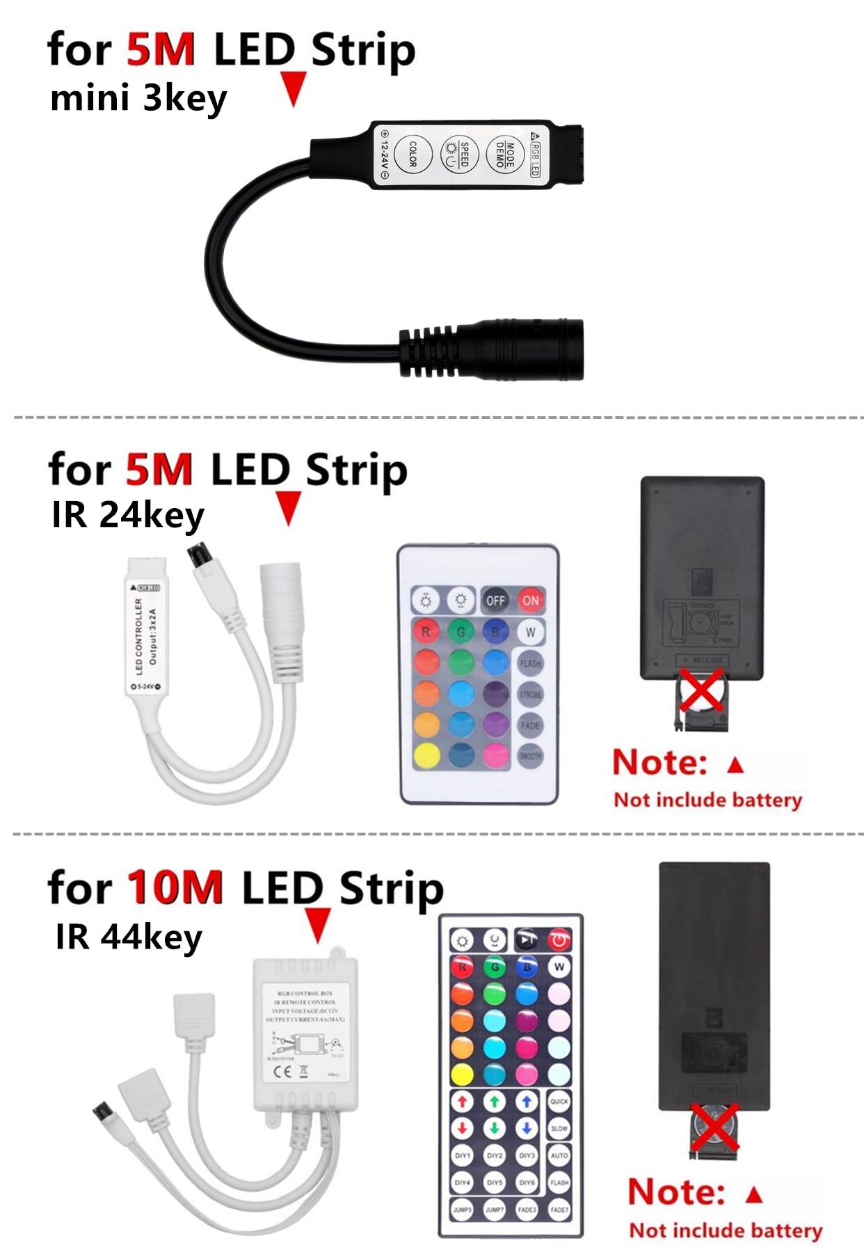 H58d01777982d449f9b4d3d19b6a075a0D RGB LED Strip Waterproof 2835 5M 10M DC12V Fita LED Light Strip Neon LED 12V Flexible Tape Ledstrip With Controller and Adapter