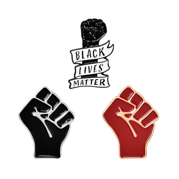 Against Racism Fist Brooches Enamel Lapel Pins for clothes Shirt Bag Hat Badge Communism Jewelry Gift for Friends Wholesale image