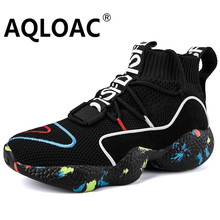 AQLOAC Knit Vamp High Top Sneakers Men Women Size 35-47 Life Running Shoes Breathable Sport Shoes Zapatillas Hombre Deportiva(China)