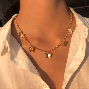 Vintage Multilayer Pendant Butterfly Necklace for Women Butterflies Moon Star Charm Choker Necklaces Boho Jewelry Christmas Gift 1