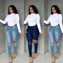 Узкие женские джинсы простые рваные Лидер продаж тонкие ягодицы