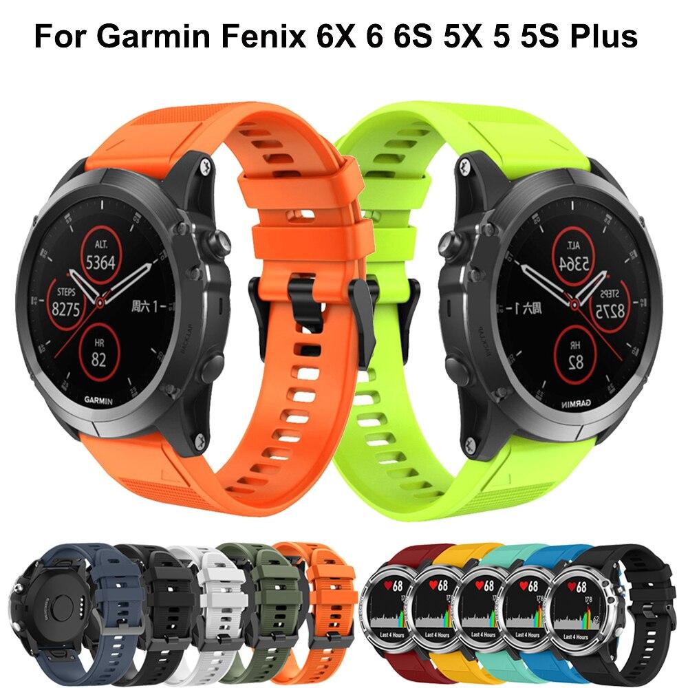 26 22MM Watchband For Garmin Fenix 5 5X 5S 3 3 HR For Fenix 6X 6 6S Watch Quick Release Silicone Sport Easyfit Wrist Band Strap