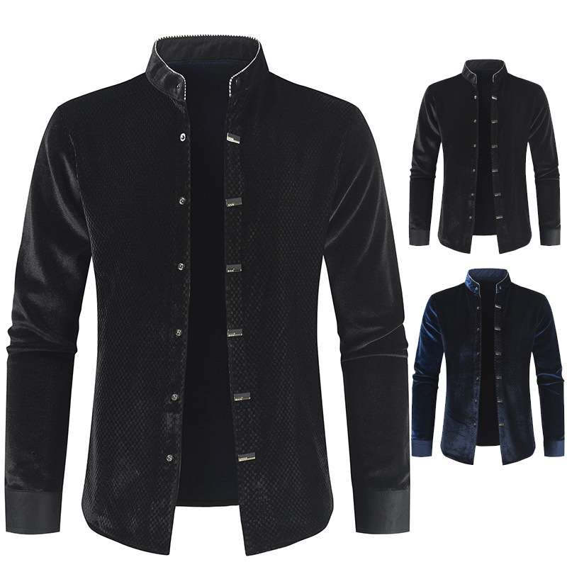 2020 Autumn & Winter New Arrival Korean Long Sleeve Shirt Casual Solid Stand Collar Single-breasted Slim Shirt Free Shipping