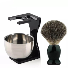 Shaving Brush Badger Hair 26mm Wood Handle Clear Acrylic Stand Stainless Steel Bowl for Men Wet Shave Brushes Set Gift