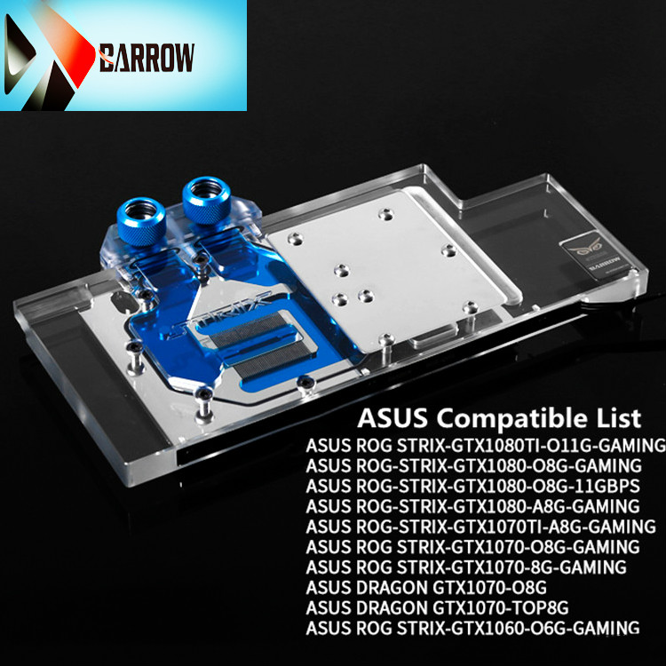 Barrow GPU water cooling block ASUS GTX 1080TI / 1080/1070/1060 ASUS ROG LRC RGB lighting full coverage BS-ASS1080T-PA image