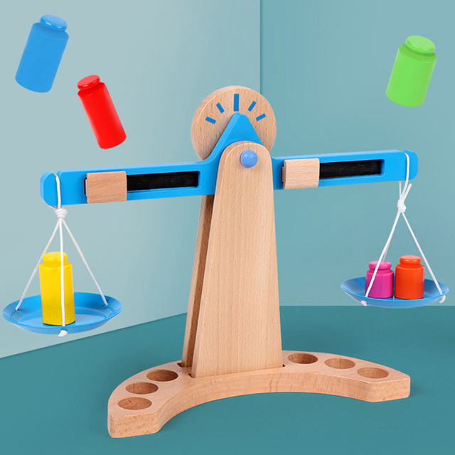 Kids-Montessori-Materials-Scales-Weight-Timber-Set-Early-Learning-Educational-Toy-New-Wooden-Funny-Math-Toys