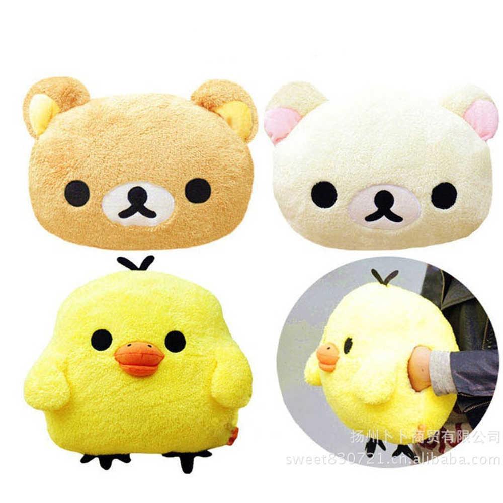 Bonito rilakkuma urso marrom pouco amarelo frango pelúcia brinquedos macio dos desenhos animados quente mão travesseiro no inverno para meninas presentes de natal