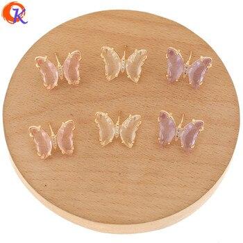Diseño Cordial 40 Uds 15*19MM accesorios de joyería/pendientes de cristal Stud/forma de mariposa/fabricación DIY/hecho a mano/hallazgos de pendientes